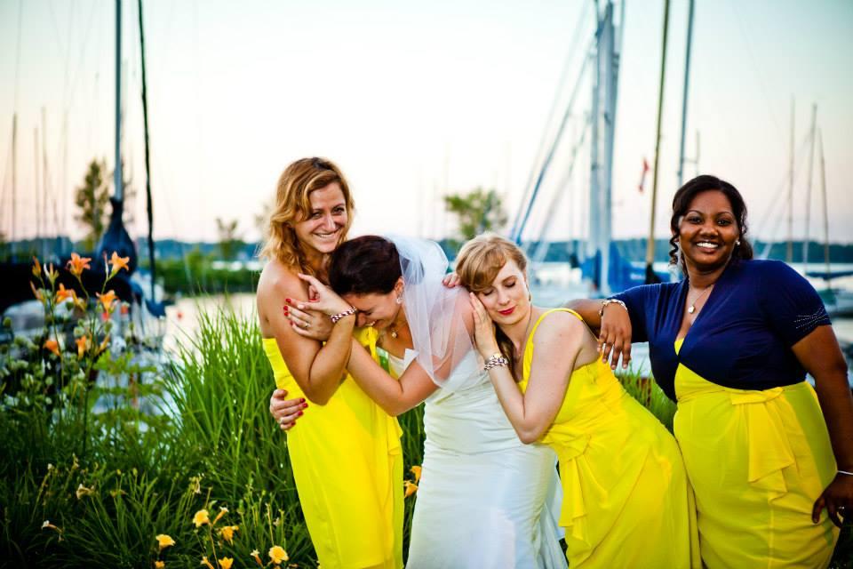 Nautical bridesmaids yellow dresses